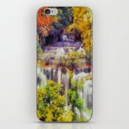 Autumn landscape with waterfall iPhone Skin