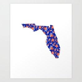 Florida fan gators university orange and blue team spirit football college sports Art Print