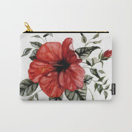 Blooming Red Hibiscus Carry-All Pouch