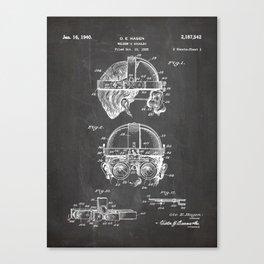 Welding Goggles Patent - Welder Art - Black Chalkboard Canvas Print