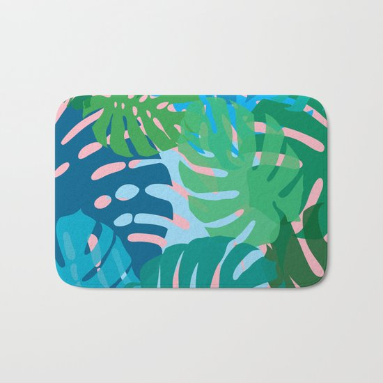 Colorful monstera leaves 3 Bath Mat