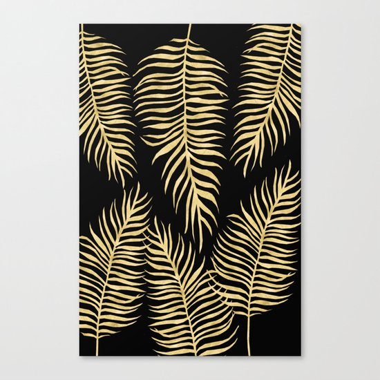Fern Pattern Gold On Black Background Canvas Print