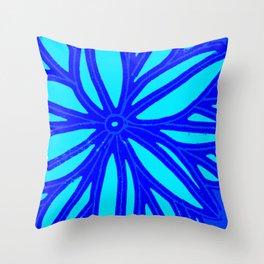 aqua blue bloom Throw Pillow