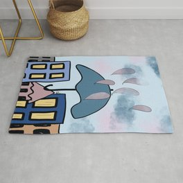Whimsical Rainy Day in the City Rug