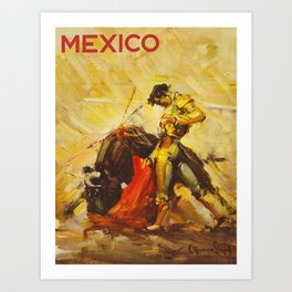 Vintage Mexico Bullfighting Travel Art Print