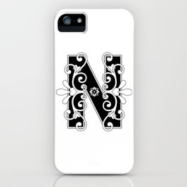 Letter N Elegant Scroll Initial iPhone Case