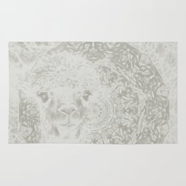 Ghostly alpaca and mandala Rug