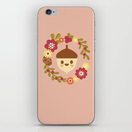 Acorn and Flowers / Blush Pink iPhone Skin