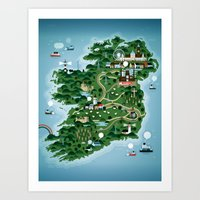 ruben ireland Art Prints featuring Ireland by Steebz