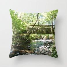Bridal Veil Falls OR Forest Bridge Throw Pillow