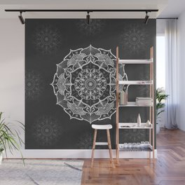 dark gray bw grey mandala pattern design Wall Mural