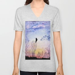 Watercolor Painting of a Bird on  Branch Unisex V-Neck