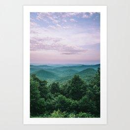 Pink Sunset over the Blue Ridge Mountains Art Print