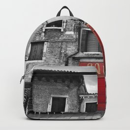 Red Caffe in Venice Black and White Photography Backpack