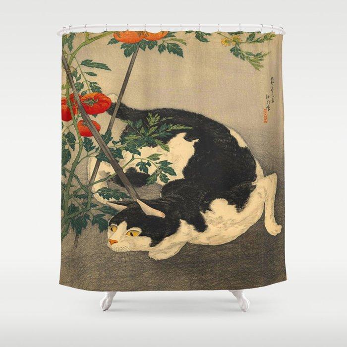 Shotei Takahashi Black White Cat Tomato Garden Japanese Woodblock Print Shower Curtain