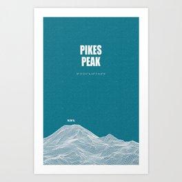 Pikes Peak (blue) Art Print
