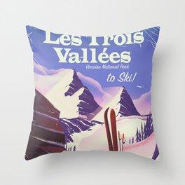 Les Trois Vallées to ski Throw Pillow