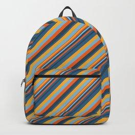 Indigo Orange Sky Blue Inclined Stripe Backpack
