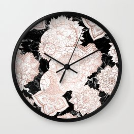 Modern rose gold floral mandala chic marble Wall Clock