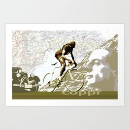 Tour De France Legend Cyclist Fausto Coppi with Map and Portrait Art Print
