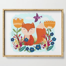 A Fox In The Flowers With A Flying Feathered Friend Serving Tray