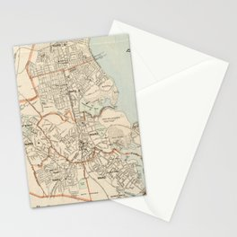 Vintage Map of Quincy MA (1907) Stationery Cards