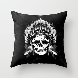 Indian Chief Skull Throw Pillow