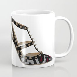 Leopard Valentino Rockstud pumps fashion illustration pink  Coffee Mug