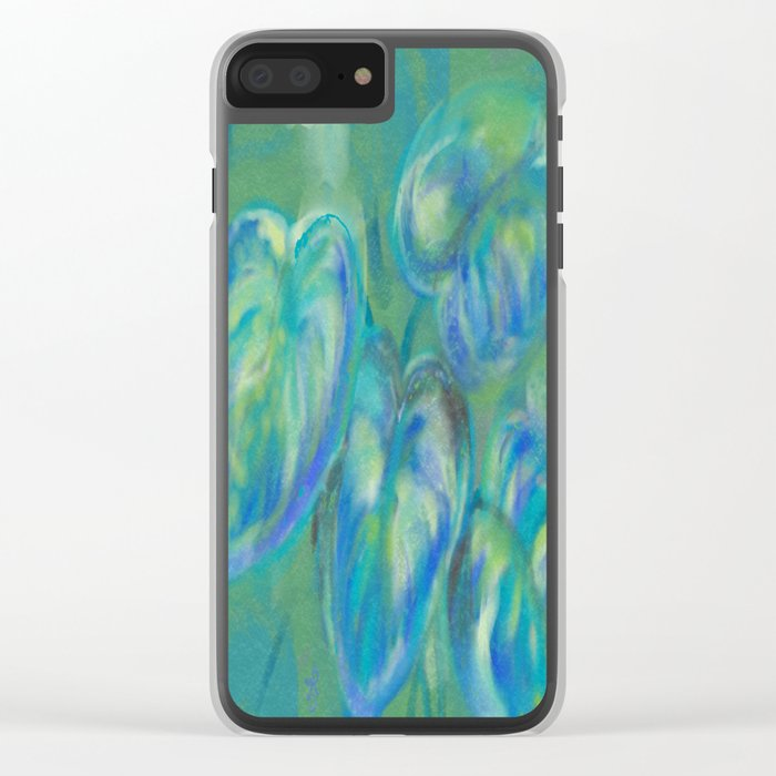 Green and White Spring Leaves Clear iPhone Case