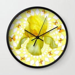 YELLOW BUTTERFLIES & YELLOW IRIS WHITE PATTERN ART Wall Clock