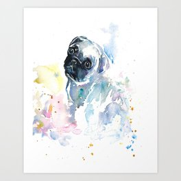 Pug Puppy in Splashy Watercolor Art Print