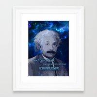 einstein Framed Art Prints featuring EINSTEIN by DisPrints