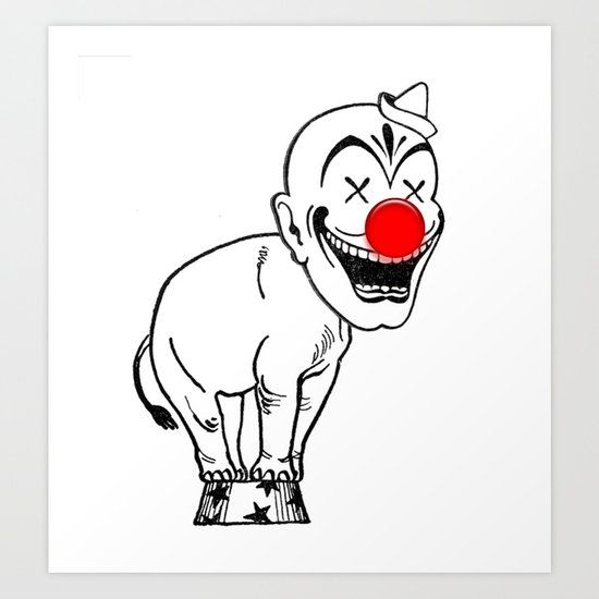 elephant clown Art Print