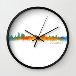 Jerusalem City Skyline Hq v2 Wall Clock