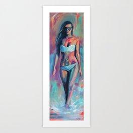 Beach Girl with Sunglasses Art Print