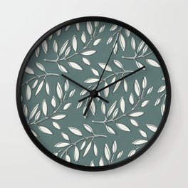Leaves in Dark Turquoise and White Wall Clock