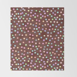 chocolate Glaze with sprinkles. Brown abstract background Throw Blanket