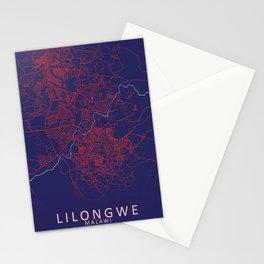 Lilongwe, Malawi, Blue, White, City, Map Stationery Cards