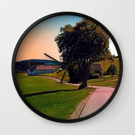 A tree, a road and summertime Wall Clock