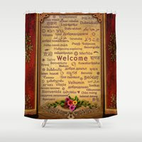 welcome Shower Curtains featuring Welcome by Bedros Awak