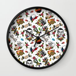 Traditional Tattoo Pattern Wall Clock