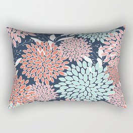 Floral Prints and Leaves, Navy, Aqua Coral and Pink Rectangular Pillow