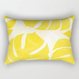 Mellow Yellow Monstera Leaves White Background #decor #society6 #buyart Rectangular Pillow