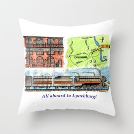 All Aboard to Lynchburg! Throw Pillow