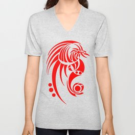 Dragosseria - red fantasy dragon Unisex V-Neck