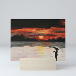 Umbrella Guy Sunset Mini Art Print