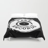 records Duvet Covers featuring Fake Records by MADMEDIUM