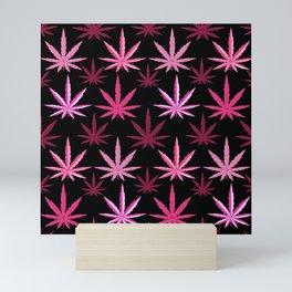 Marijuana Magenta Pink Weed Mini Art Print