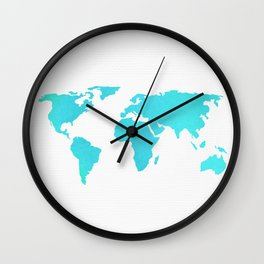 World Map - Turquoise Green Emerald Pool on White Wall Clock