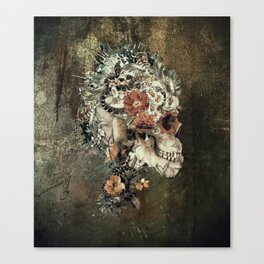 Skull on old grunge Canvas Print